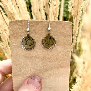 Hand stamped hammered metal earrings